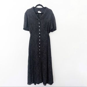 Vintage Plus Size Polka Dot Black Midi Dress